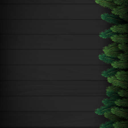 Christmas tree branches on dark wooden background. Vector Banco de Imagens - 156532242