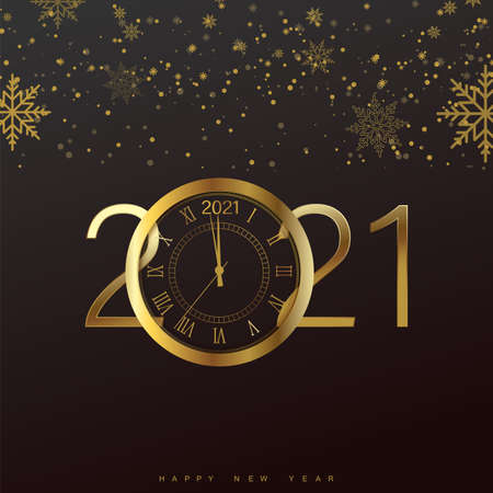 Happy 2021 Year card with golden watch and snowflakes on black background. Vector Illustration