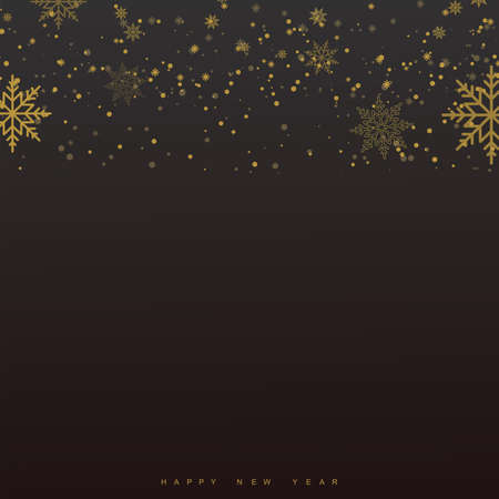 Xmas and New Year background with falling gold snowflakes. Vector