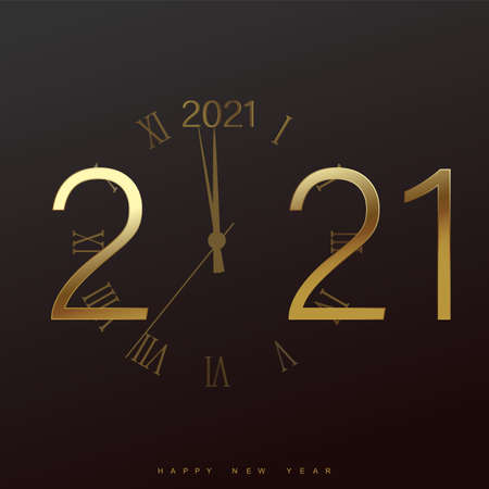 Happy 2021 Year card with golden watch and snowflakes on black background. Vector Banco de Imagens - 156767880