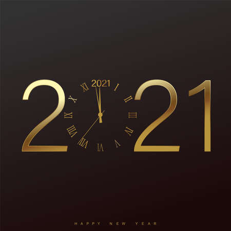 Happy 2021 Year card with golden watch on black background. Vector illustration. Illustration