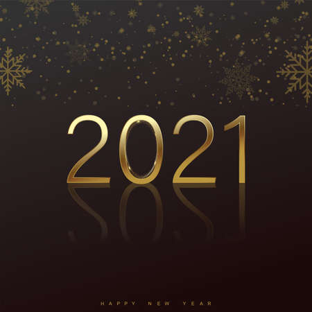 Happy 2021 Year card with golden text and snowflakes on black background. Vector