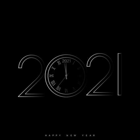 Happy New Year card with clock. 2021. Vector.