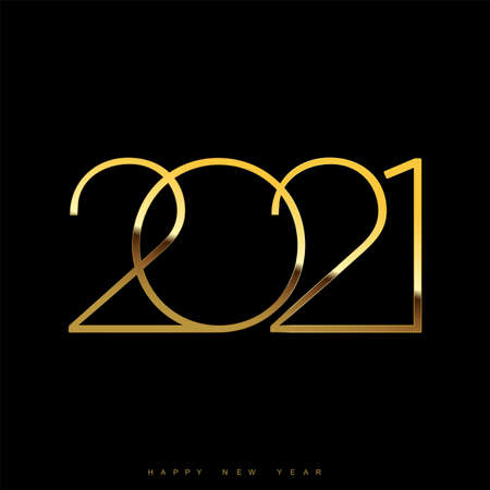 Happy New Year card with golden modern text. 2021. Vector. Illustration