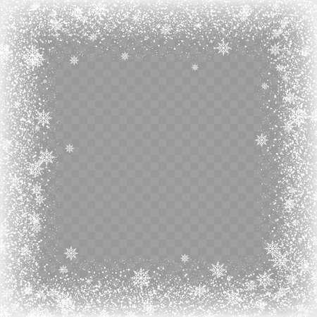 Frozen window glass ice with snow on transparent background. Vector. Vecteurs