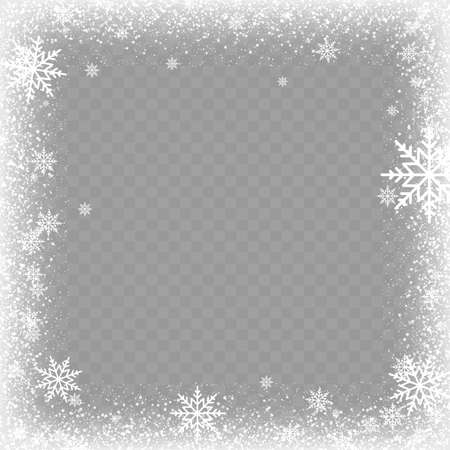 Frozen window glass ice with snow on transparent background. Vector.