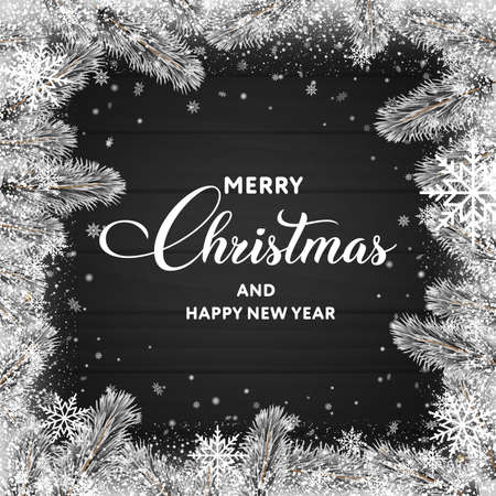 Merry Christmas or Happy New year greeting card on black background with tree branches. Vector Banco de Imagens - 156590860