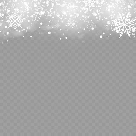 Christmas background with snowflakes on transparent. Vector. Banco de Imagens - 156590427