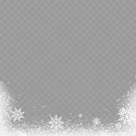Christmas background with snowflakes on transparent. Vector.