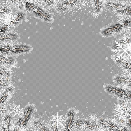Christmas square tree branch frame on transparent background. Vector Ilustração