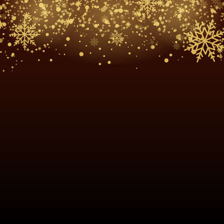 Christmas background with gold snowflakes on transparent. Vector. Banco de Imagens - 156590640