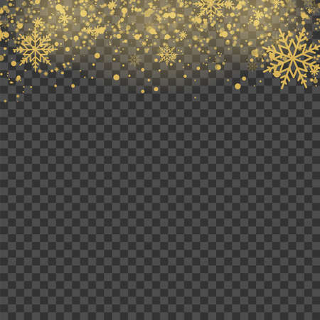 Christmas background with gold snowflakes on transparent. Vector. Banco de Imagens - 156590845