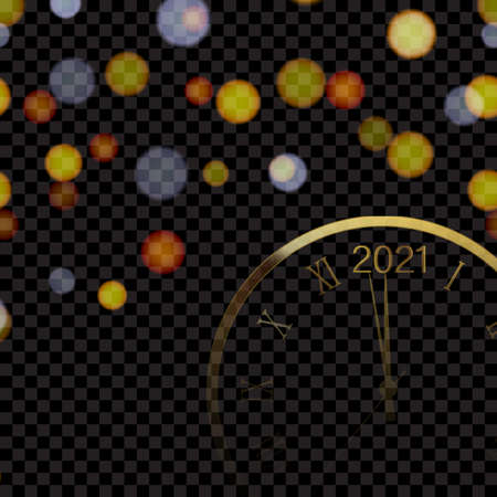 Happy 2021 Year or Christmas card with golden clock and defocused night lights. Vector.