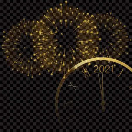 Happy 2021 Year card with golden watch and fireworks. Vector. Ilustração