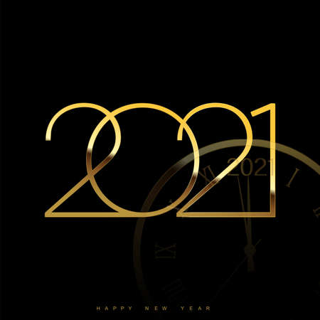 Happy 2021 Year card with golden watch on black background. Vector.