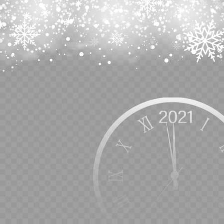 Christmas background with falling snowflakes and clock on transparent. Vector Banco de Imagens - 156630346