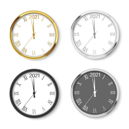 Set of round 2021 New Year clocks with soft shadow. Vector.