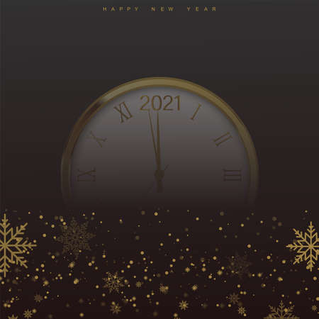 Christmas background with falling snowflakes and clock on transparent. Vector Ilustração