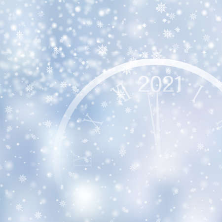 Christmas or Happy New Year card with falling snowflakes and watch on blue sky. Vector Ilustração