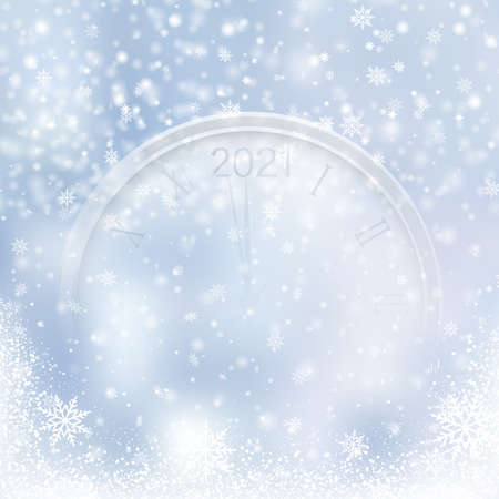 Christmas or Happy New Year card with falling snowflakes and watch on blue sky. Vector Banco de Imagens - 156695788