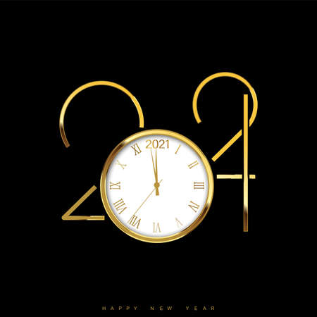 Christmas or Happy New Year card with golden watch and text. Vector Banco de Imagens - 156695790