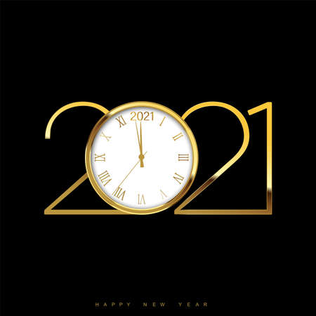Christmas or Happy New Year card with golden watch and text. Vector Ilustração