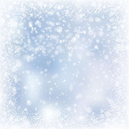 Christmas card with falling snowflakes on blue sky. Vector.