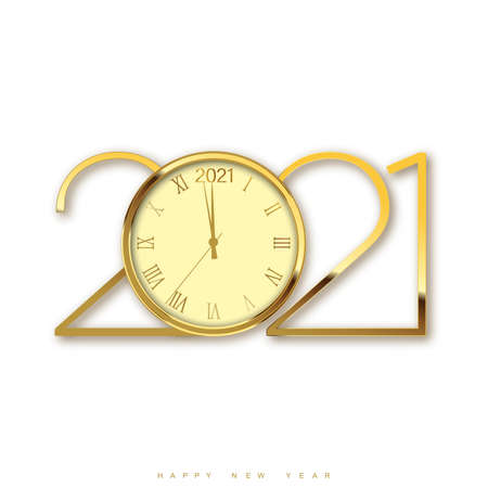 Christmas or Happy New Year card with golden watch and text. Vector Illustration