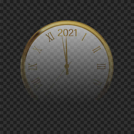 Golden shiny watch with numeral and countdown midnight. Vector Illustration