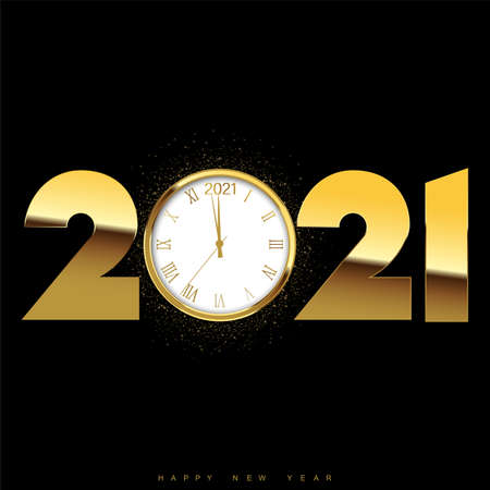 Happy New Year or Xmas card with golden text and watch. Vector