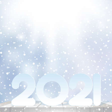 Happy New Year or Xmas card with snowflakes on blue sky. Vector. Banco de Imagens - 156767890