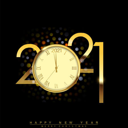 Happy New Year 2021 with golden shiny watch. Vector. Illustration