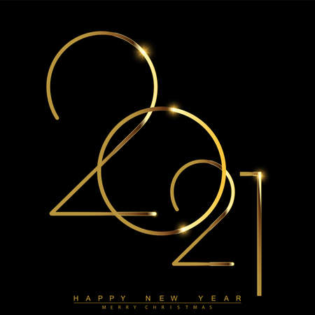 Happy New Year 2021 with golden shiny text. Vector. Illustration