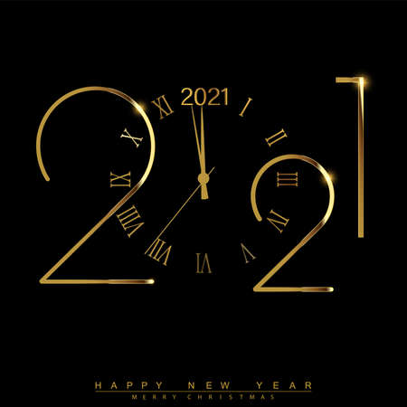 Happy New Year 2021 with golden shiny watch. Vector Illustration