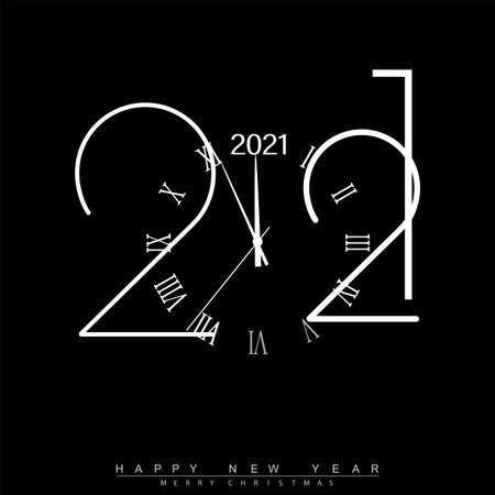 Happy New Year 2021 with silver shiny watch. Vector