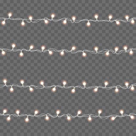 Xmas glowing lights. Garlands, Christmas decorations. Vector.
