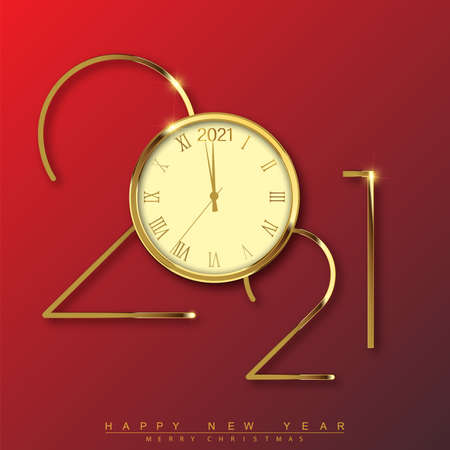 2021 Happy New Year text design with gold clock. Vector