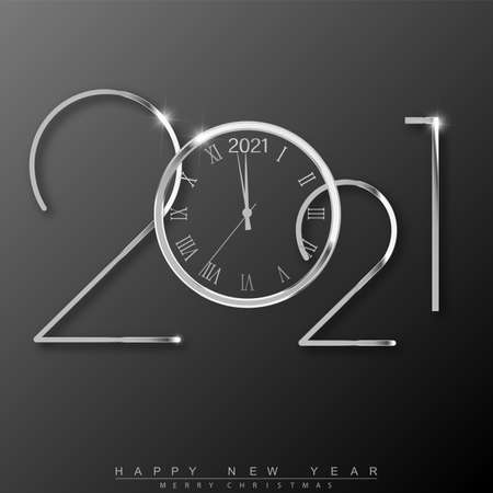 2021 Happy New Year text design with silver clock. Vector