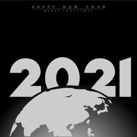 2021 Happy New Year with Earth. Vector