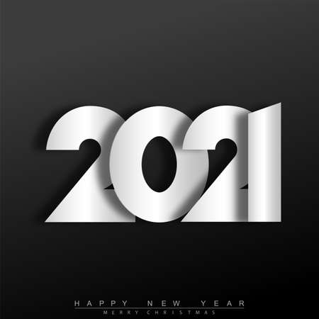 2021 Happy New Year text design template. Vector Illustration