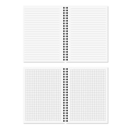 Realistic open spiral notepad template. Vector Illustration