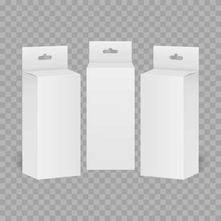 White Product Package Box With Hang Slot. Mock Up. Vector