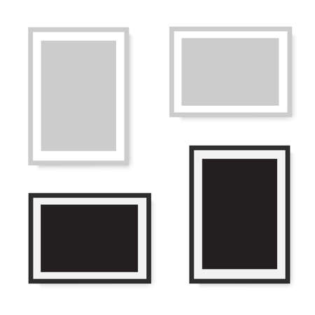 Black and gray realistic photo frame. Vector Illustration