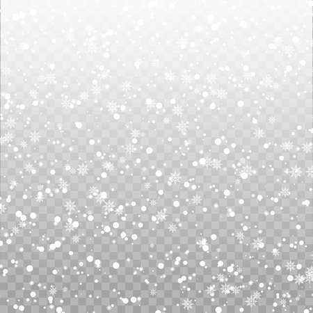 Xmas background with falling snowflakes on transparent. Vector