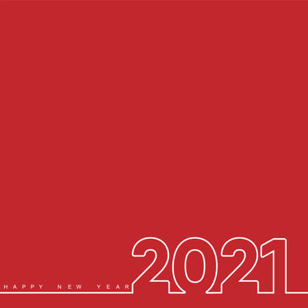 2021 New Year card with lined text. Vector.