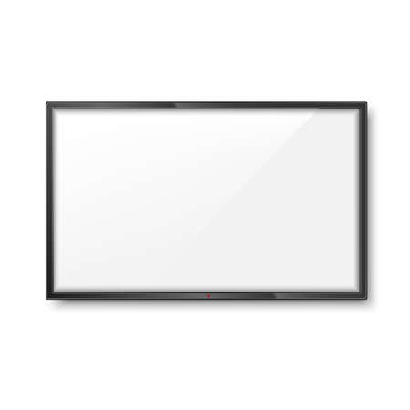 Realistic frame of TV screen mockup. LCD panel. Vector.