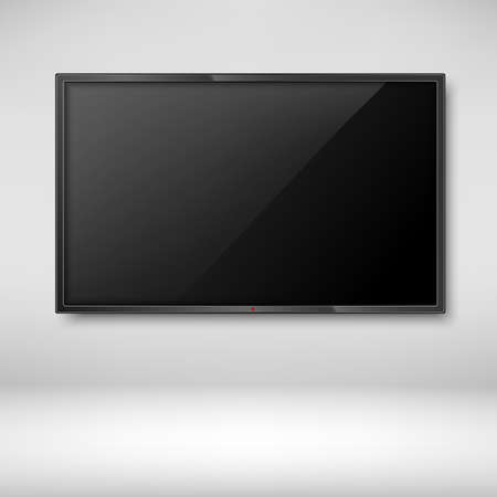 White flat TV screen hanging on wall. Vector