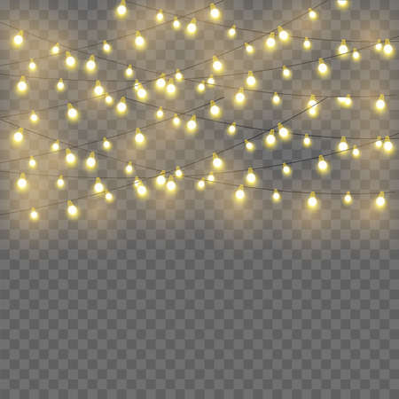 Glowing lights for Xmas Holiday greeting card design. Garlands decorations. Vector