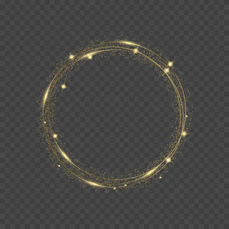Round glowing gold sparkles on transparent background. Luxury banner. Vector