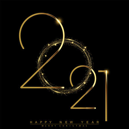 2021 New Year card with golden and glittering text. Vector Vettoriali